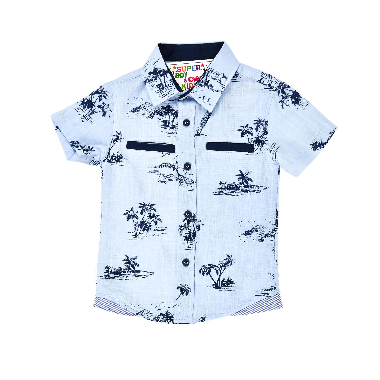 Летняя рубашка голубая с пальмами для мальчика