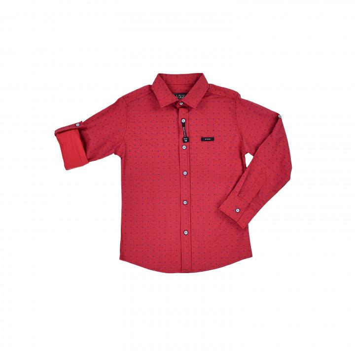 Красная рубашка с узором для мальчика