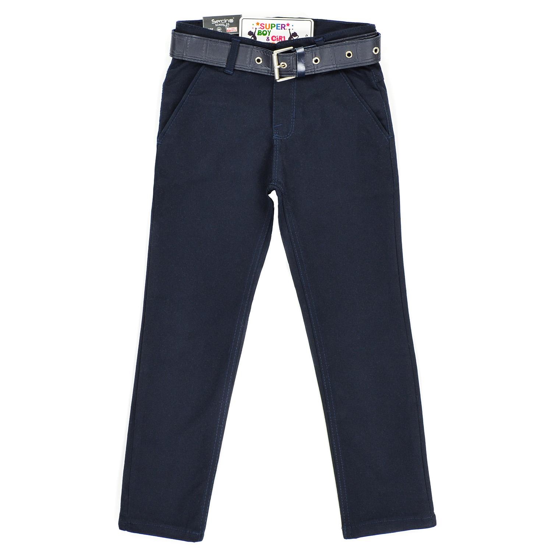 Синие брюки с ремнём для мальчика