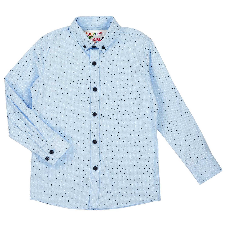Голубая рубашка с рисунком для мальчика