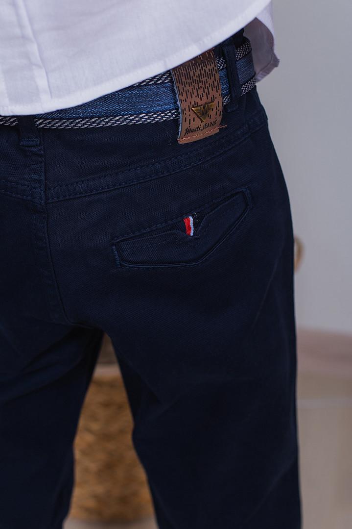 Тёмно синие брюки с ремнём для мальчика