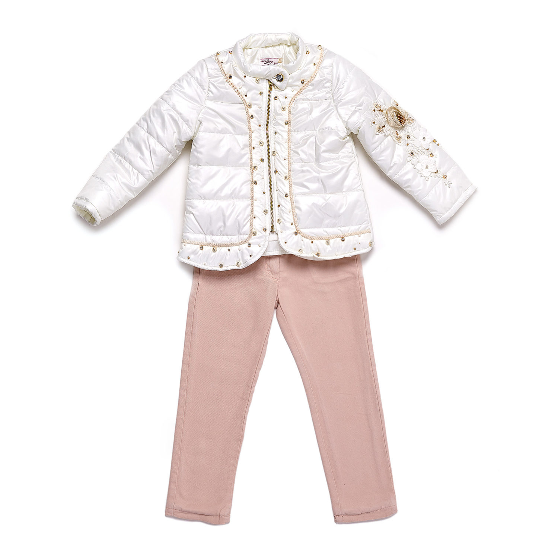 Набор Baby Elite белый с кружевом и камнями для девочки