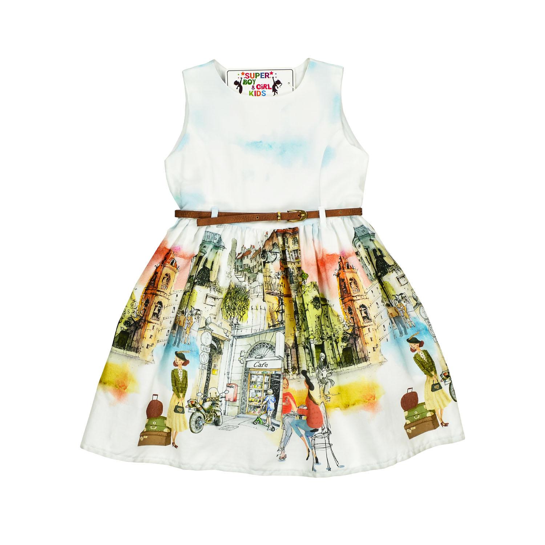Летнее нарядное платье с ярким рисунком