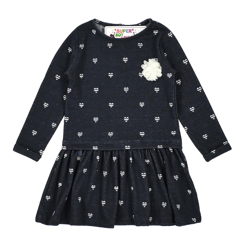 Платье с принтом сердечек для девочки
