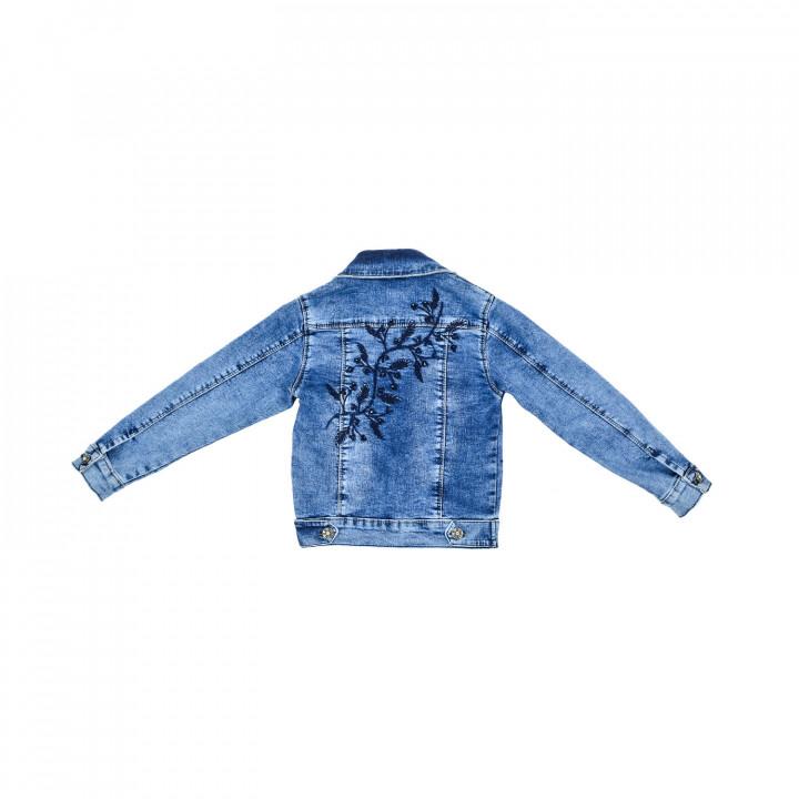 Джинсовый пиджак с вышивкой для девочки