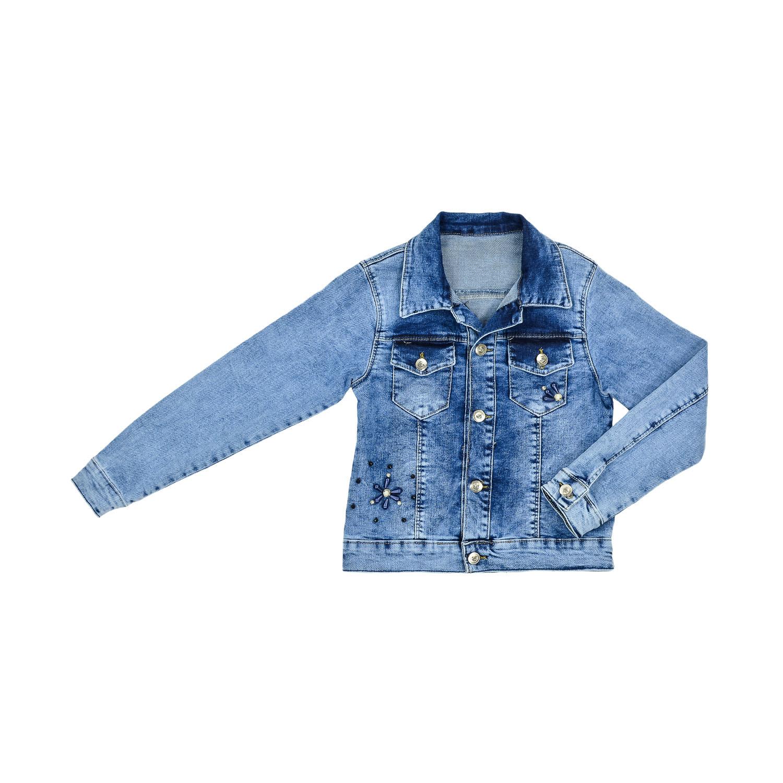 Джинсовый пиджак с украшеньем для девочки