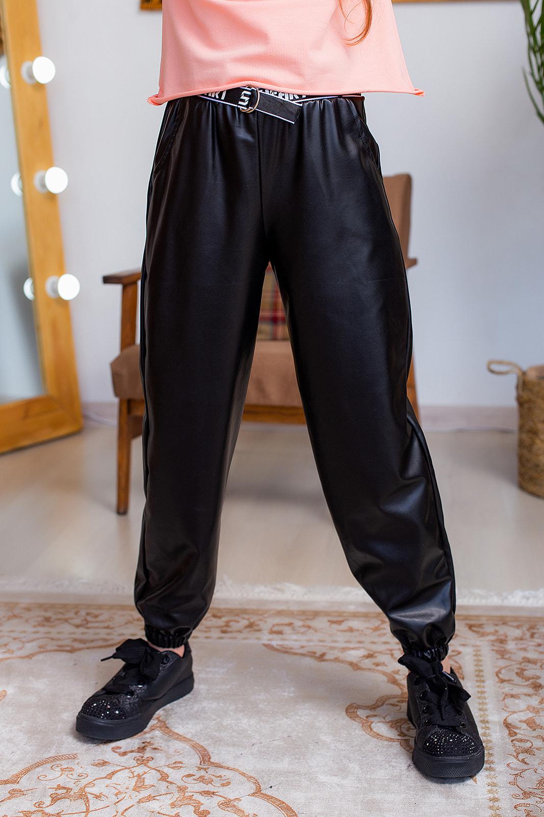 Штани із екошкіри для дівчинки