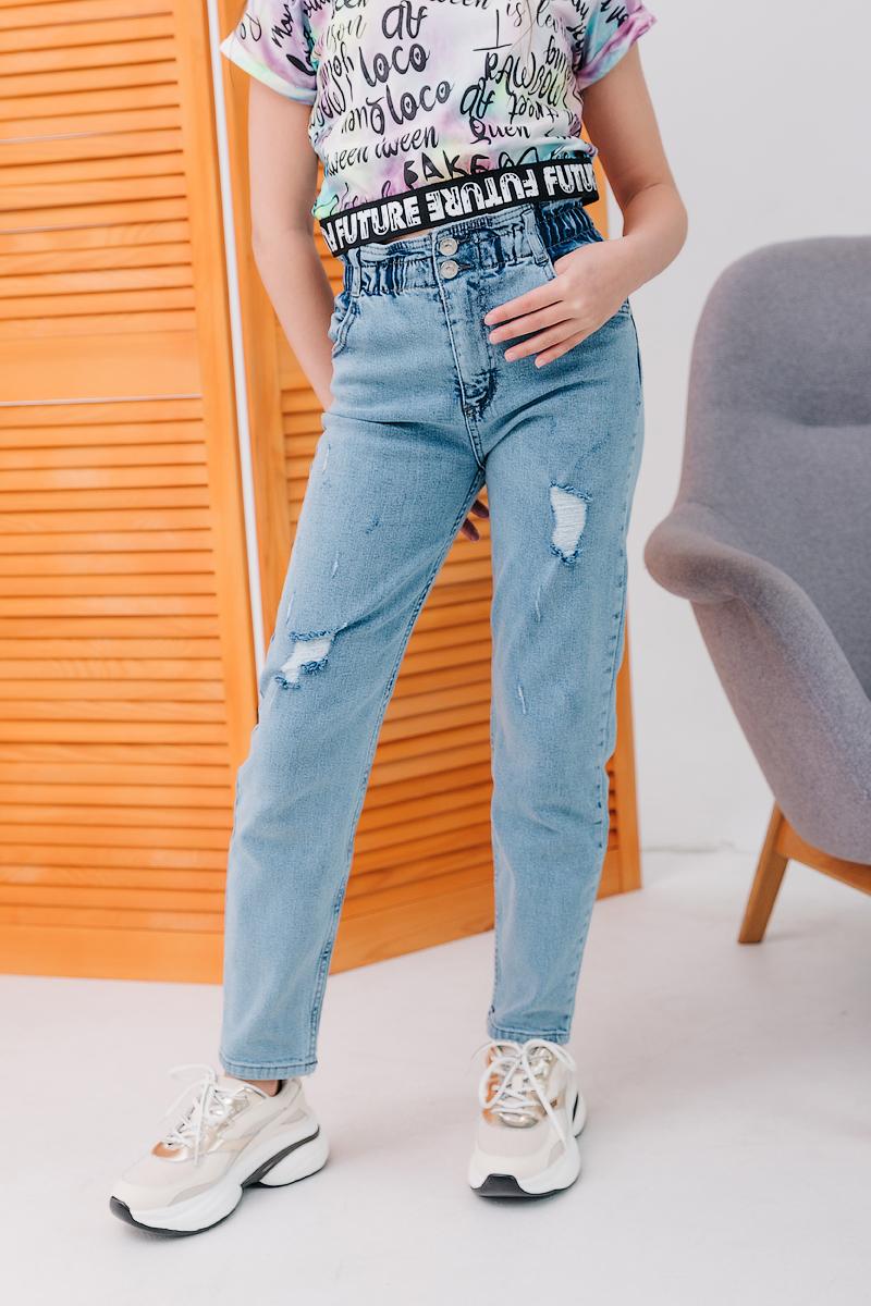 Блакитні джинси МОМ на резинці
